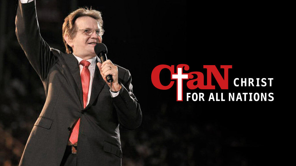 Daniel Kolenda preaches the Gospel and Reinhard Bonnke prays for the crowd to be filled with the Holy Spirit